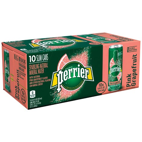 Perrier Sparkling Natural Mineral Water Pink Grapefruit - 10pk/8.45 fl oz Cans - image 1 of 5