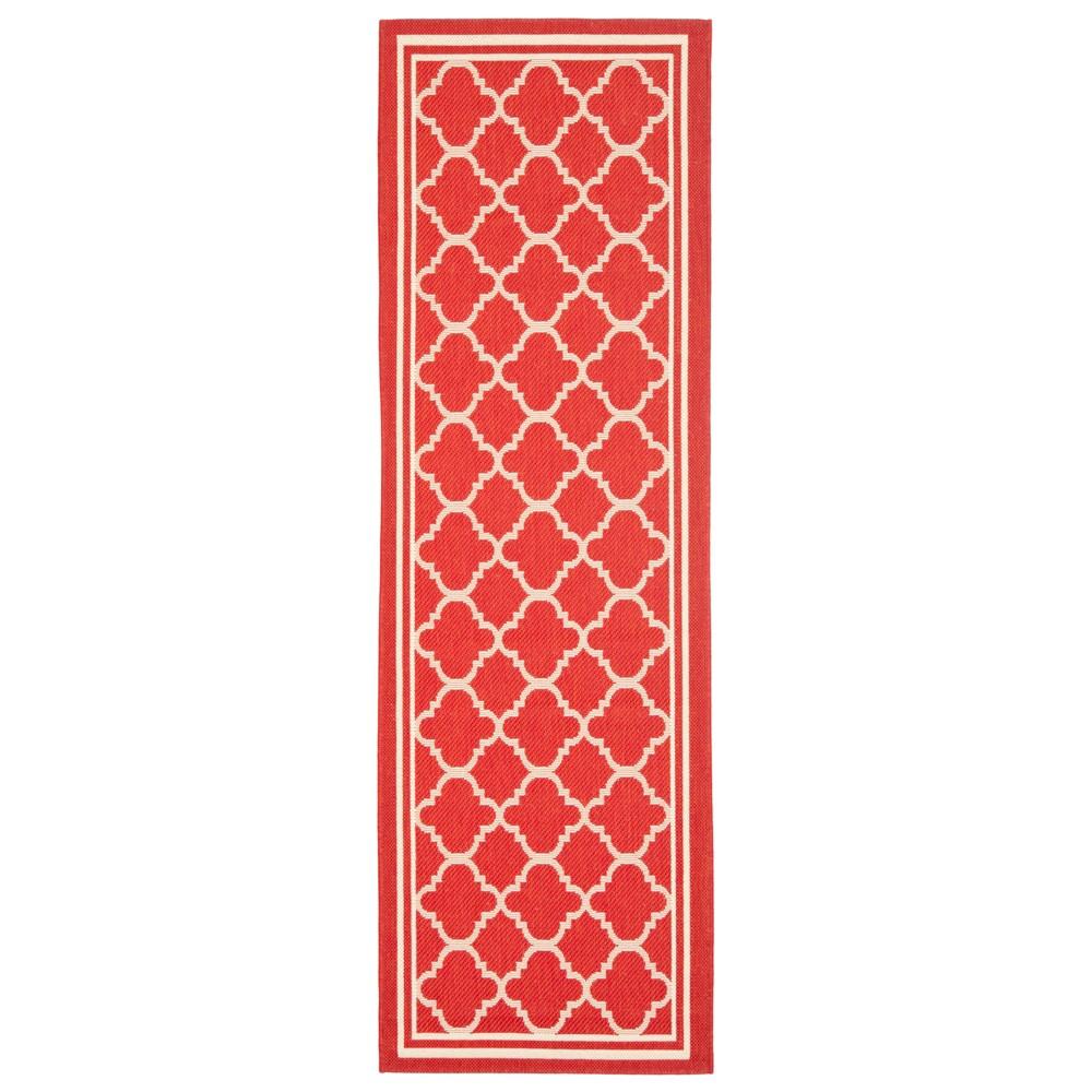 Renee 2'4 X 12' Runner Outer Patio Rug - Red / Bone - Safavieh, Red/Ivory