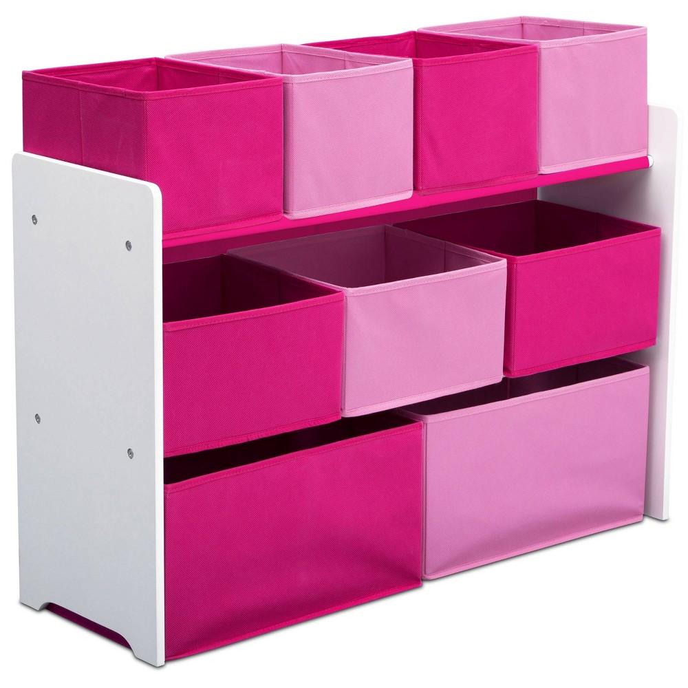 Image of 9 Bin Deluxe Toy Organizer White/Pink - Delta Children