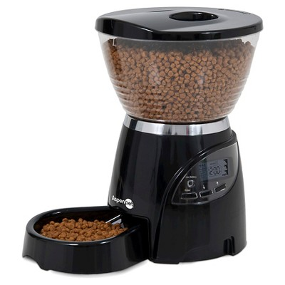 Aspen Pet Electronic Programmable Food Dispenser For Cats & Small Dogs - Black