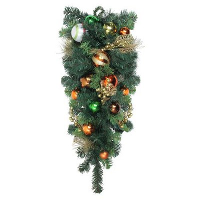 """Northlight 30"""" Green Foliage and Ornaments Artificial Christmas Teardrop Swag - Unlit"""