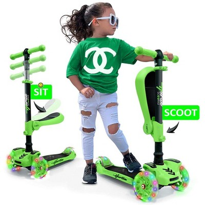 Hurtle ScootKid 3 Wheel Toddler Child Mini Ride On Toy Tricycle Scooter with Adjustable Handlebar, Foldable Seat, and LED Light Up Wheels, Green