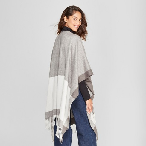 Womens Woven Ruana Poncho Sweater A New Day Gray Target