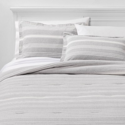 Full/Queen Classic Stripe Flannel Comforter & Sham Set Gray - Threshold™