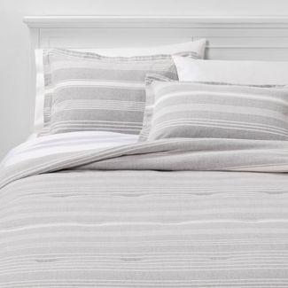 King Classic Stripe Flannel Comforter & Sham Set Gray - Threshold™