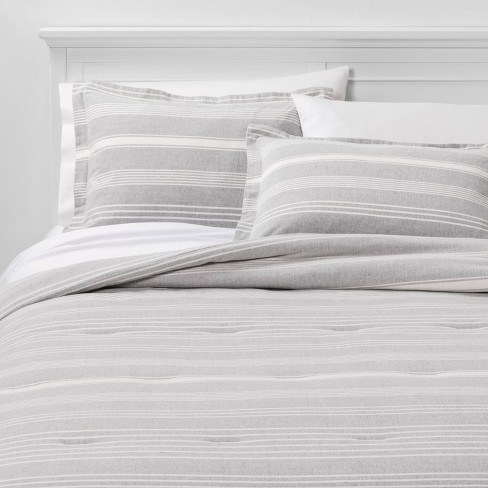 Classic Stripe Flannel Comforter & Pillow Sham Set Gray - Threshold™ - image 1 of 3