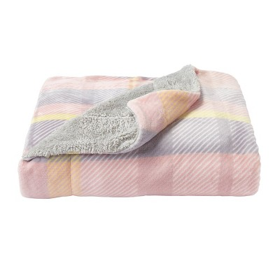 Oversized Sherpa Fleece Plaid Throw Modern Blush - Yorkshire Home