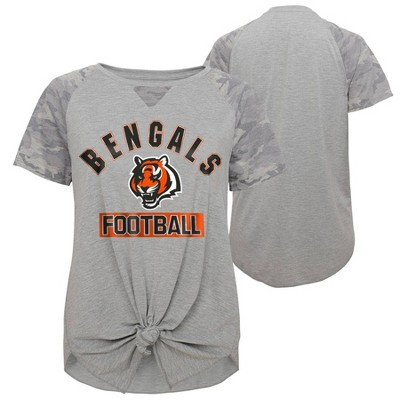 NFL Cincinnati Bengals Women's Short Sleeve Front Knot T-Shirt