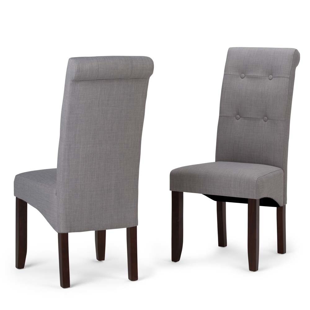 Essex Deluxe Tufted Parson Chair Set of 2 Dove Gray Linen Look Fabric - Wyndenhall