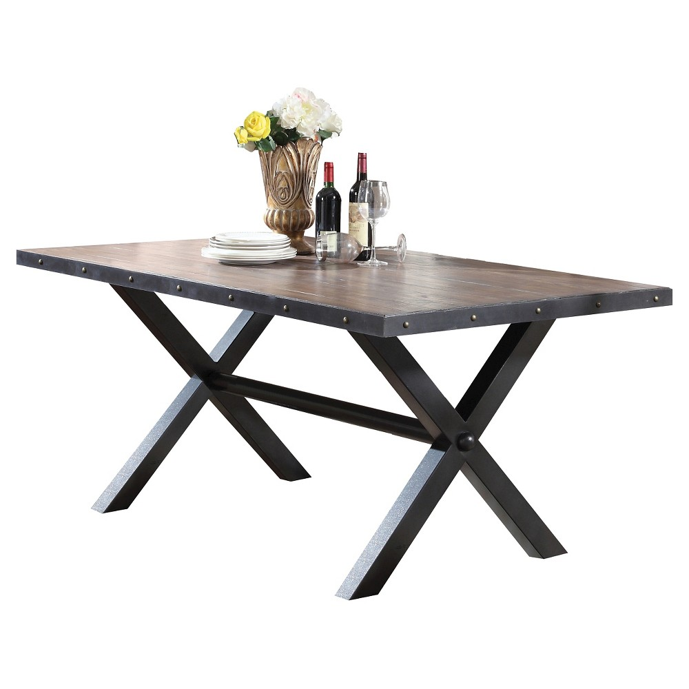 Earvin Dining Table - Weathered Cherry (Red) - Acme