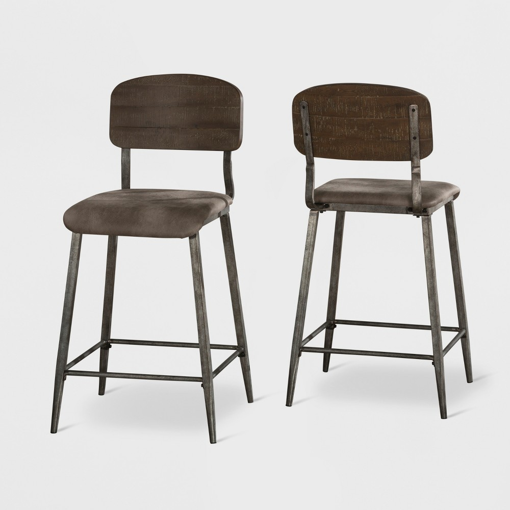 Set of 2 Adams Counter Stools Wood/Antique Steel - Hillsdale Furniture