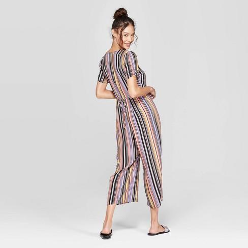 cc0a37ba902a Women s Striped Short Sleeve Deep V-Neck Button Front Cropped Jumpsuit -  Xhilaration™ Black   Target
