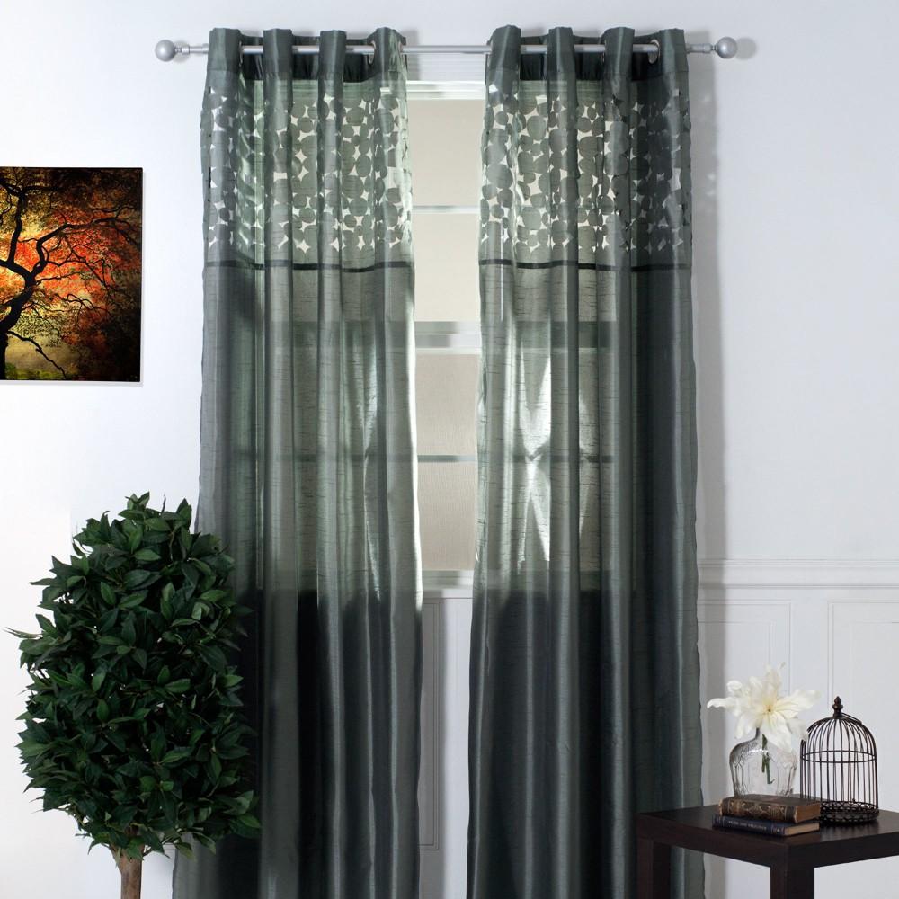 Yorkshire Home Karla Laser Cut Grommet Curtain Panel - Gray (95)