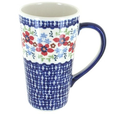 Blue Rose Polish Pottery Red Poppy Large Coffee Mug