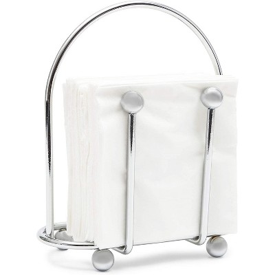 Juvale Silver Napkin Holder with Pack of 50 White Napkins for Kitchen Dining Tables (6.5 x 3.5 In)