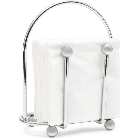 Juvale Silver Napkin Holder with Pack of 50 White Napkins for Kitchen Dining Tables (6.5 x 3.5 In) - image 1 of 4