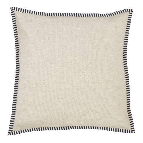 Down Filled Striped Flange Pillow Ivory - Saro Lifestyle - image 1 of 3