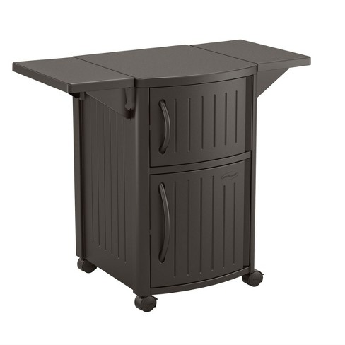 Suncast 40 Inch Counter Outdoor Meal Serving Station and Patio Cabinet, Brown - image 1 of 4