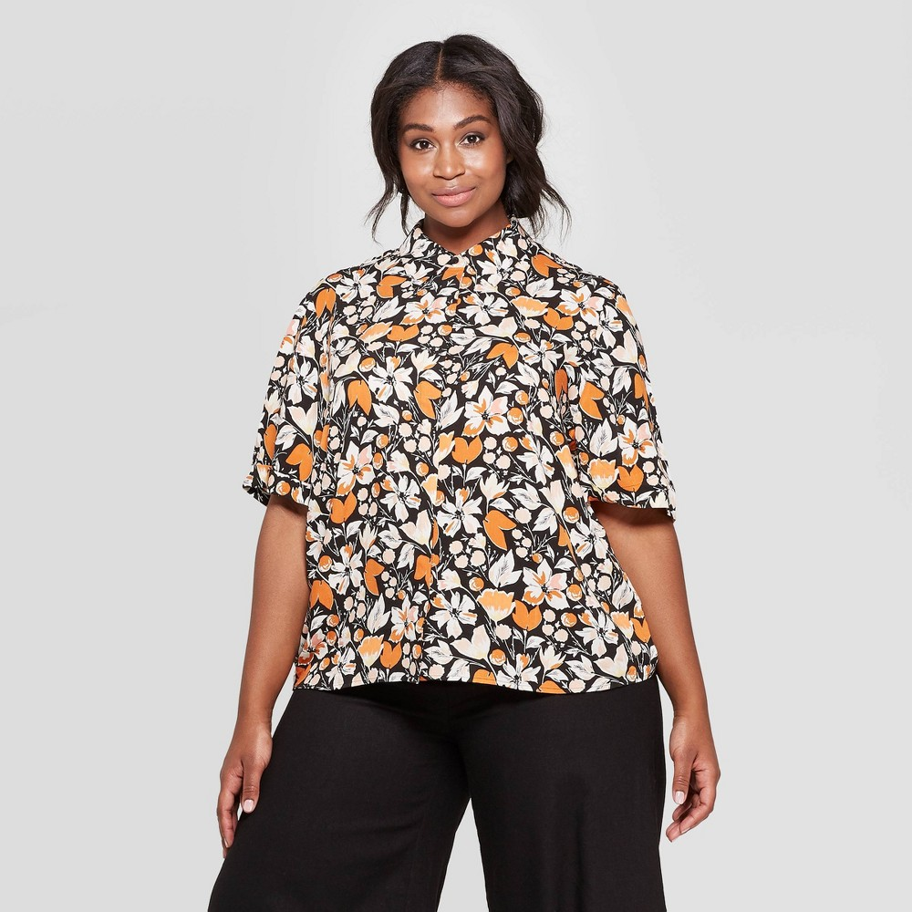 Women's Plus Size Floral Print Short Sleeve Collared Shirt - Who What Wear Black 4X