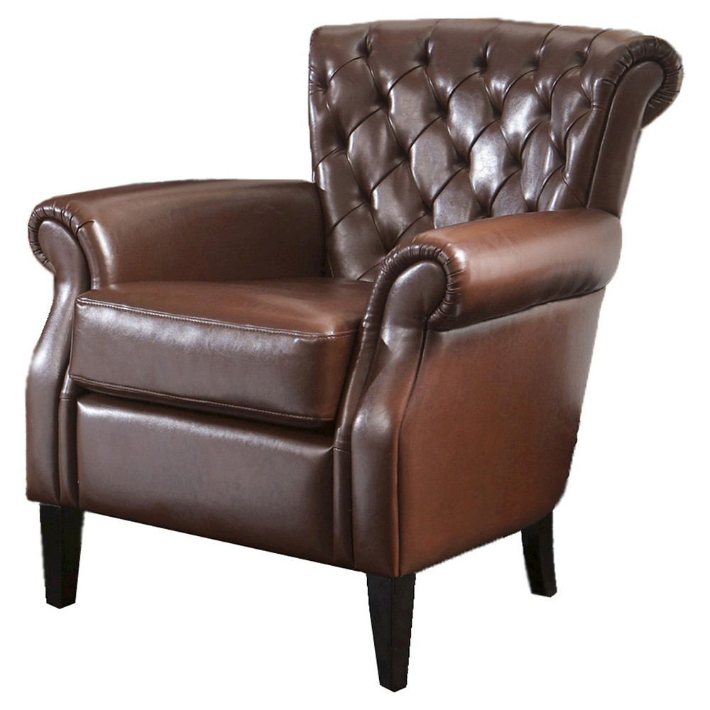 Franklin Bonded Club Chair Brown Leather - Christopher Knight Home