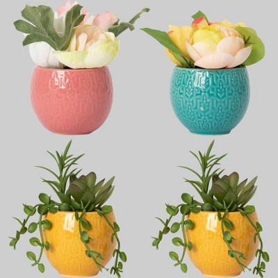 4ct Faux Succulent Potted Floral Arrangements - Bullseye's Playground™