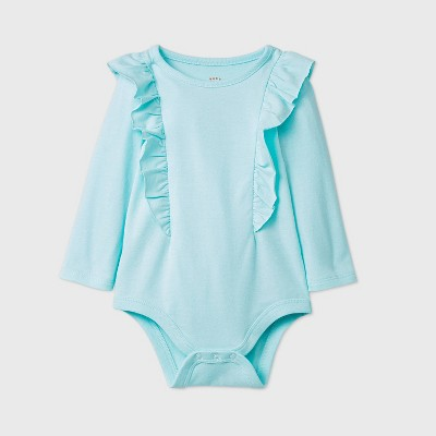 Baby Girls' Ruffle Shoulder Long Sleeve Bodysuit - Cat & Jack™ Mint 0-3M