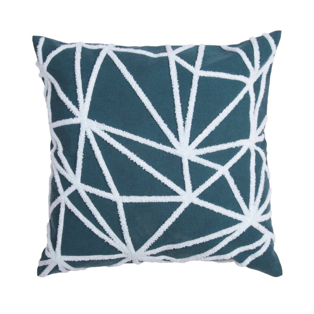 18 34 X18 34 Towel Stitched Cotton Square Throw Pillow With Solid Back Teal D 233 Cor Therapy