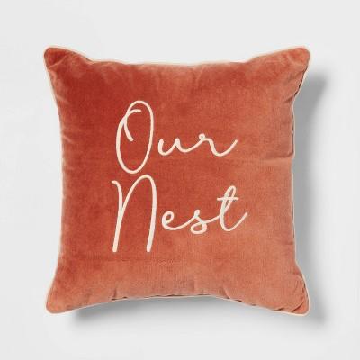 Velvet Embroidered 'Our Nest' Square Throw Pillow - Threshold™