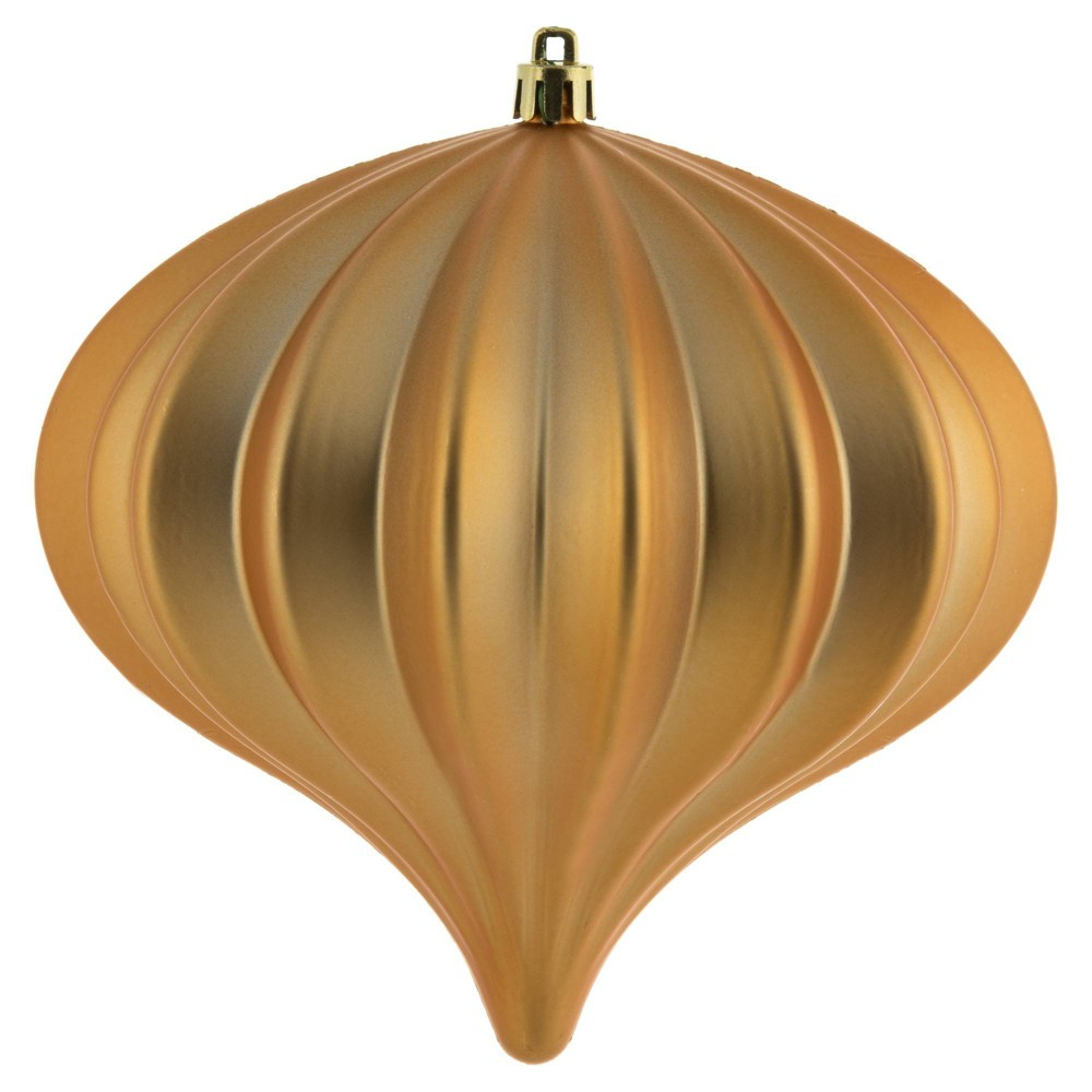"Image of ""3ct Vickerman 5.7"""" Matte Onion Ornament, UV Coated Ornament Set Copper Gold"""