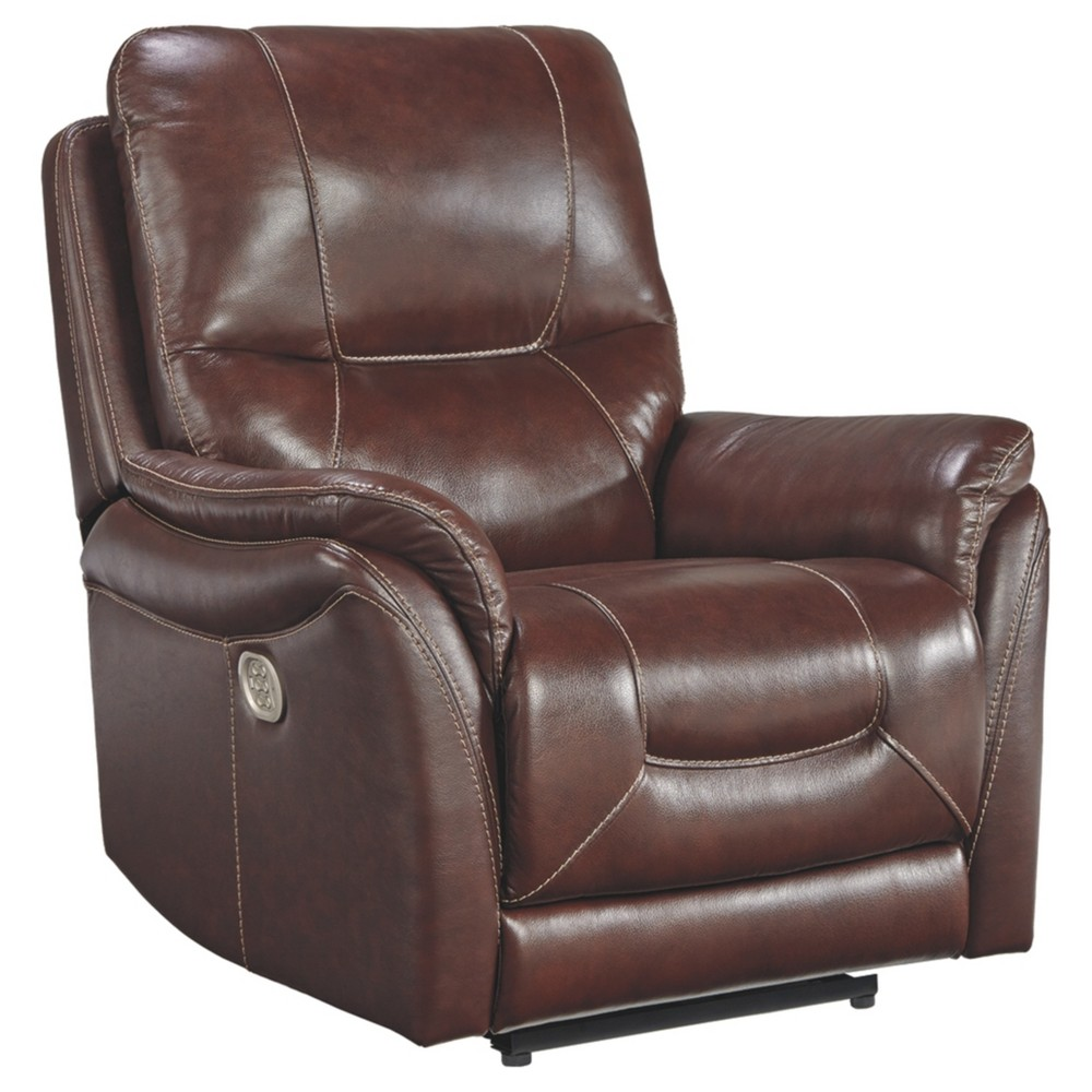 Stolpen Power Recliner with Adjustable Headrest Walnut (Brown) - Signature Design by Ashley