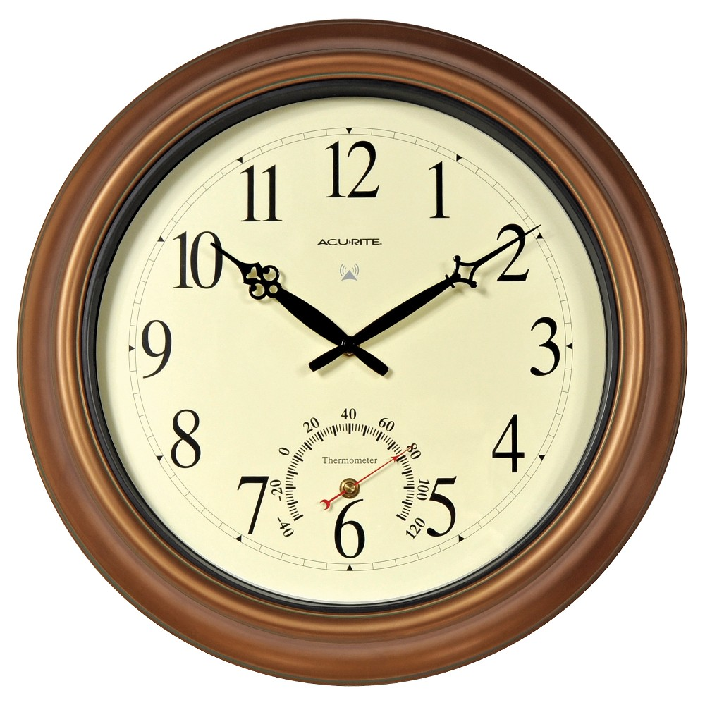 """Image of """"18"""""""" Metal Outdoor / Indoor Atomic Clock with Thermometer - Copper Finish - Acurite, Brown"""""""