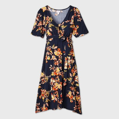 Floral Print Elbow Sleeve Woven Tier Maternity Dress - Isabel Maternity by Ingrid & Isabel™