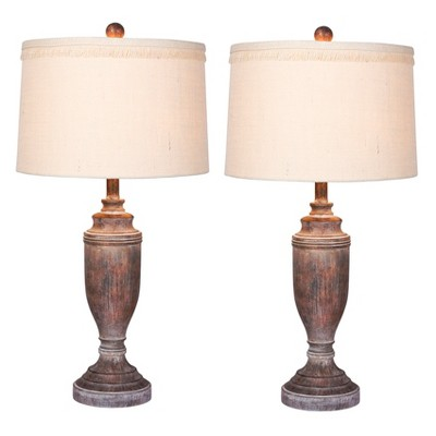 Distressed Formal Resin Table Lamps in Cottage Antique Brown - Fangio Lighting