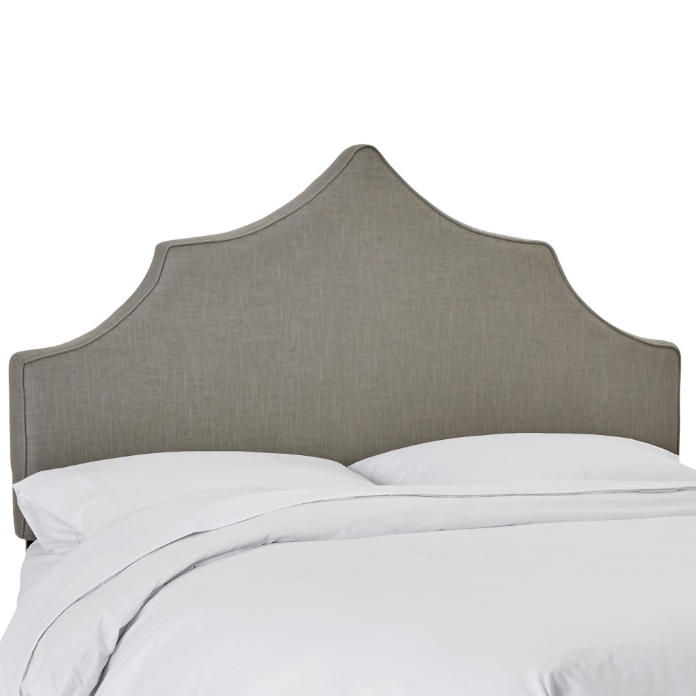 Upholstered Notched Headboard Queen Linen Gray - Skyline Furniture