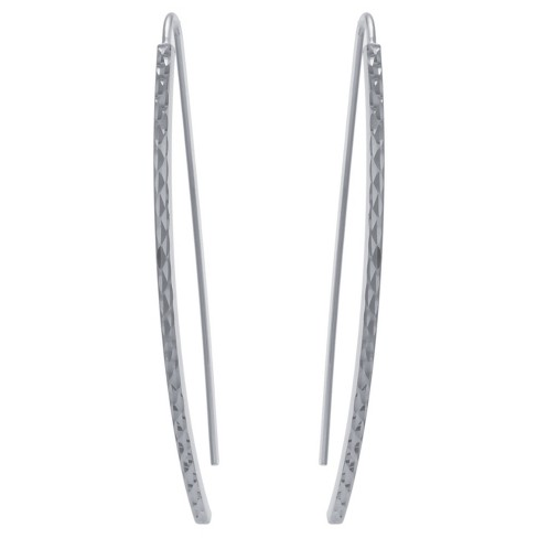 Women's Sterling Silver Diamond Cut Arched Stick Drop Earrings - image 1 of 2
