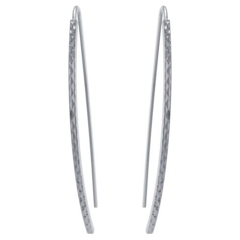 84c7709de6cea Women's Sterling Silver Diamond Cut Arched Stick Drop Earrings