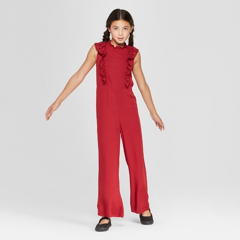 Girls' Lace Ruffle Jumpsuit - art class™ Red - image 1 of 3