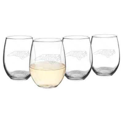 Cathy's Concepts My State Stemless Wine Glasses 21oz - Set of 4 - North Carolina