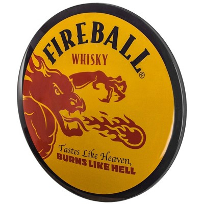 Fireball Whiskey Dome Metal Sign Yellow/Red - Crystal Art Gallery