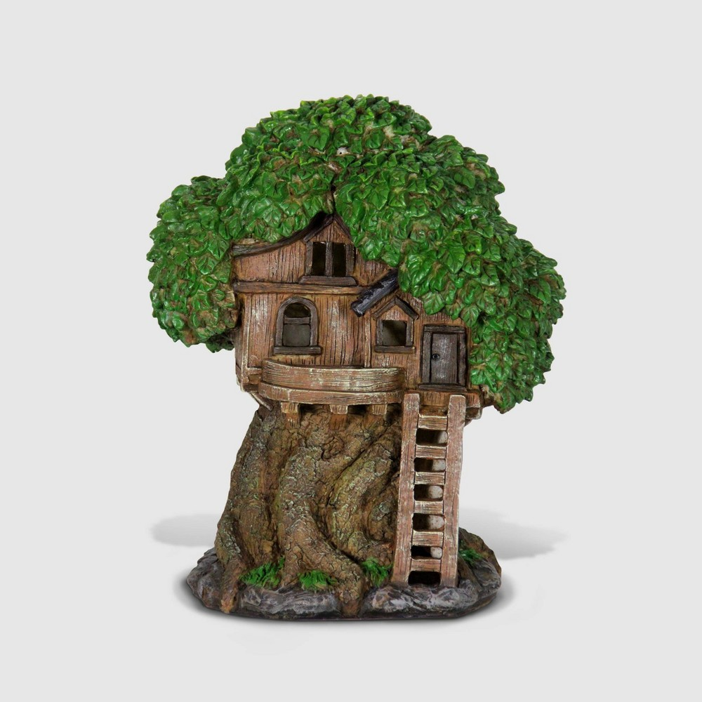 """Image of """"12"""""""" Resin Solar Tree House With Deck And Ladder Brown - Exhart"""""""