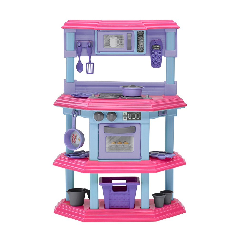 American Plastic Toys Sweet Treat Kitchen Set Let your child practice the skills of a real-life chef and baker with the Sweet Treat Kitchen Set by American Plastic Toys. This sturdy, plastic set includes: a play stove with light up burners and sounds, oven, and microwave. Decals make the appliances realistic, just like yours! The 22 accessories in both silver and pink make cooking fun! The storage baskets below pull out for storage. Ages 3+. Electronics made in China. Requires 2 AA batteries (not included). Gender: Female.
