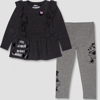 7405970f8c29a Toddler Girls' 2pc Disney Minnie Mouse Tunic and Leggings Set - Gray/Black  3T