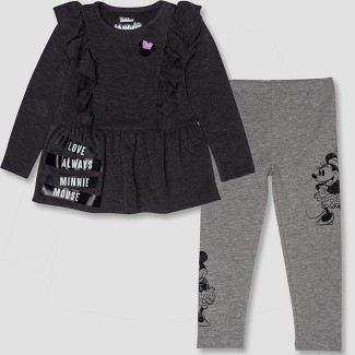 Toddler Girls' 2pc Disney Minnie Mouse Tunic and Leggings Set - Gray/Black 2T