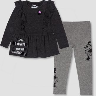 Toddler Girls' 2pc Disney Minnie Mouse Tunic and Leggings Set - Gray/Black 4T