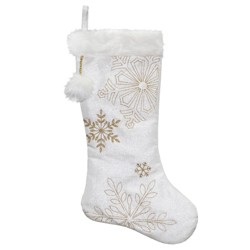 """Northlight 20"""" White and Gold Snowflakes Christmas Stocking with Cuff"""