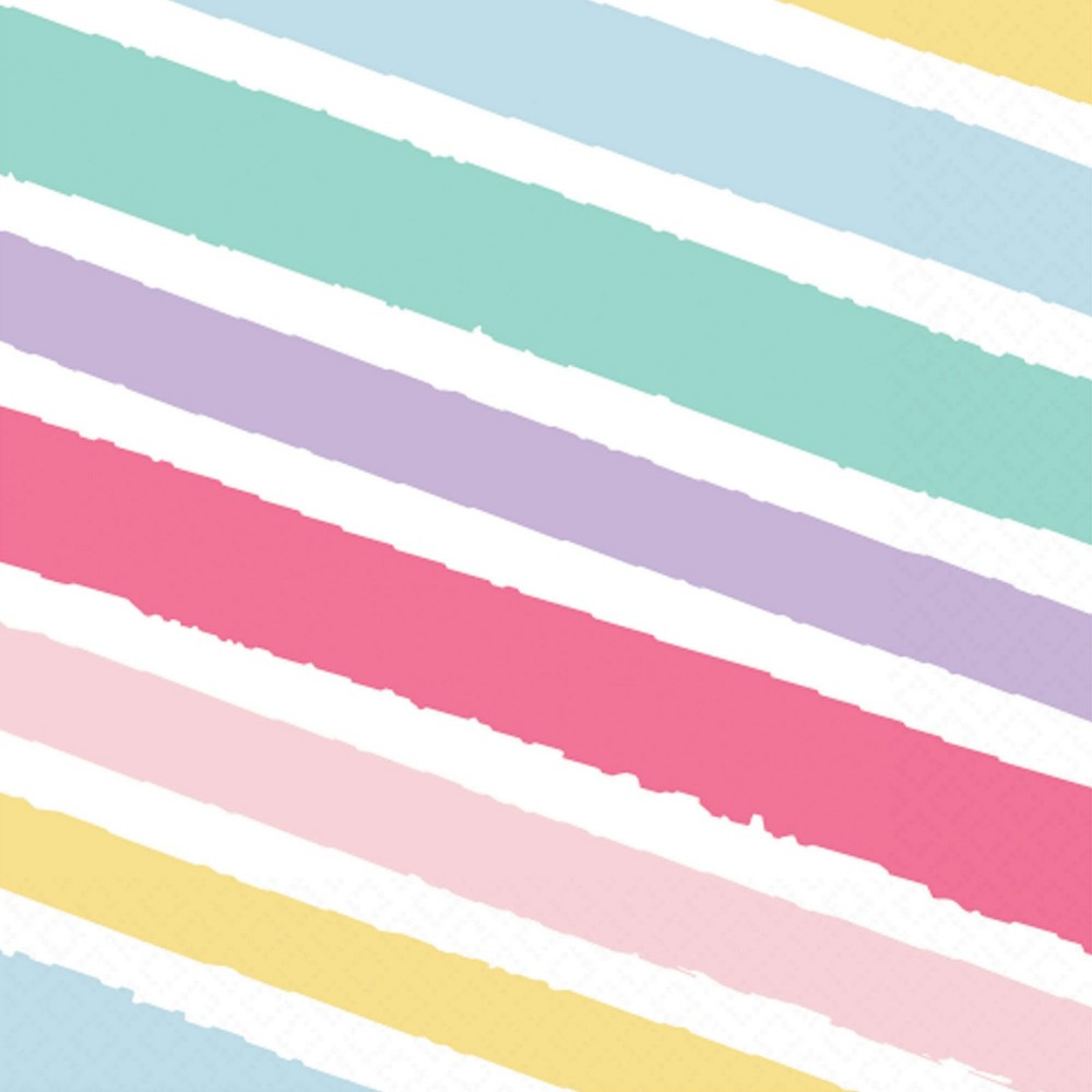 Image of 30ct Striped Lunch Napkin - Spritz
