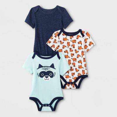 Baby Boys' 3pk Critter Graphic Bodysuits - Cat & Jack™ Blue/White/Green 0-3M