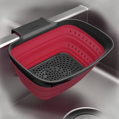 Squish Over The Sink Arm Collapsible Colander Red/Gray
