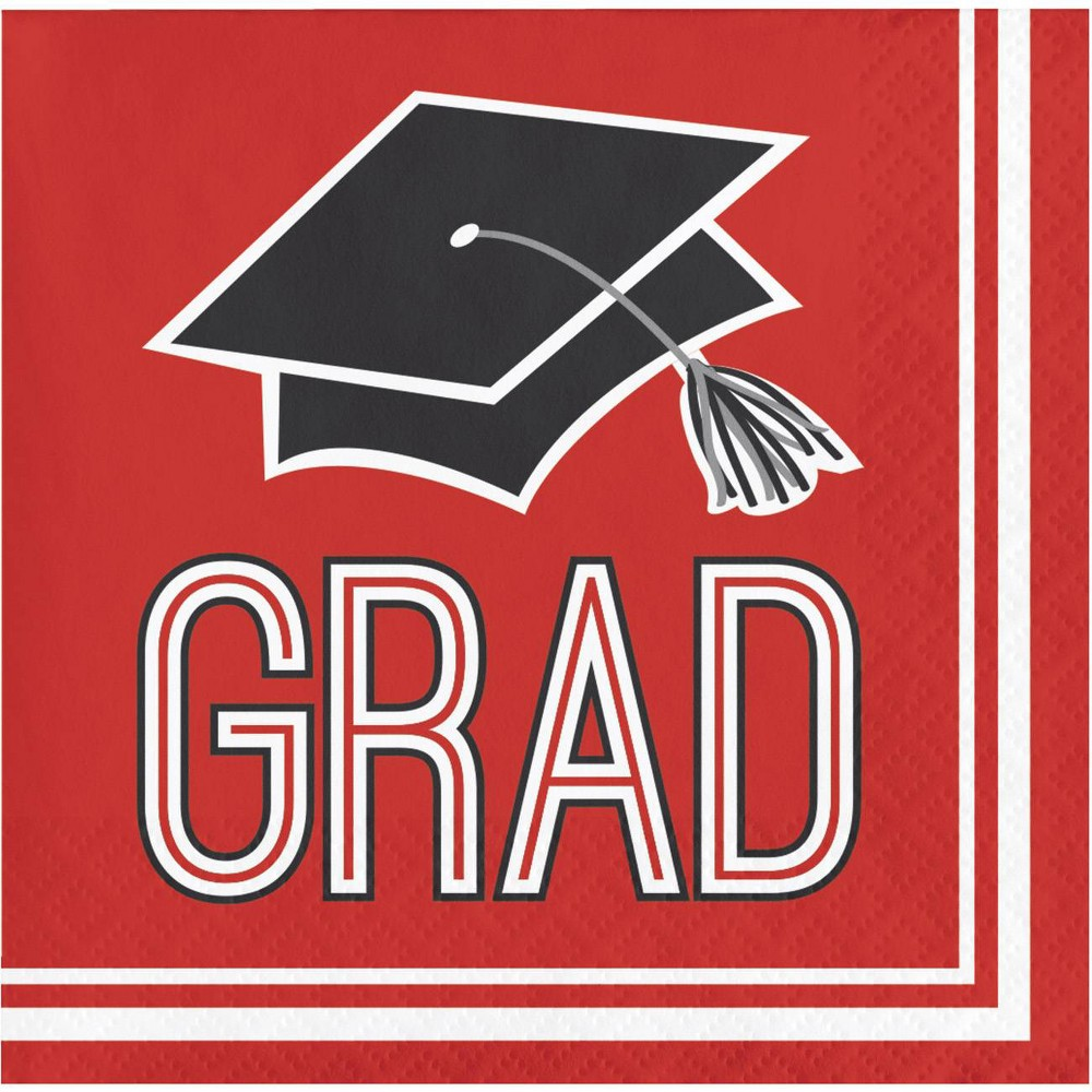 108ct Graduation School Spirit Disposable Napkins Red