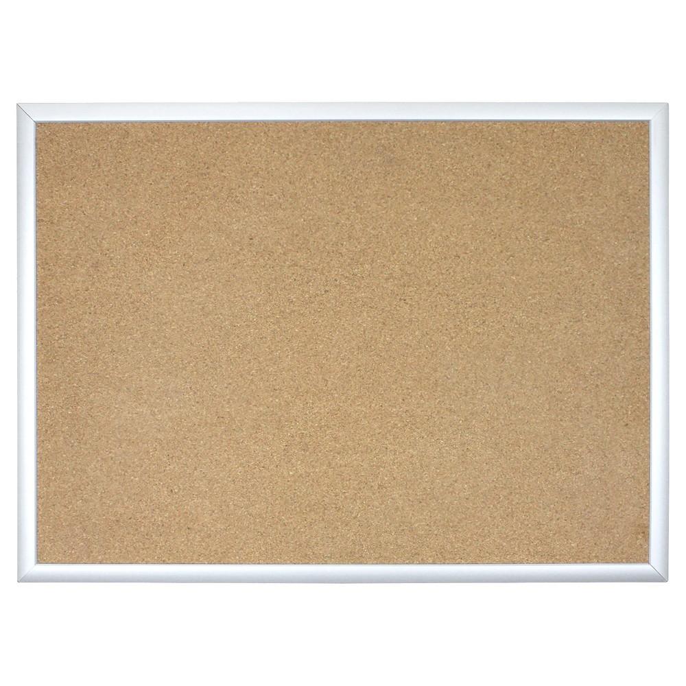 U Brands Cork Bulletin Board, 23 x 17 - Aluminum Frame, Desert Tan/Silver